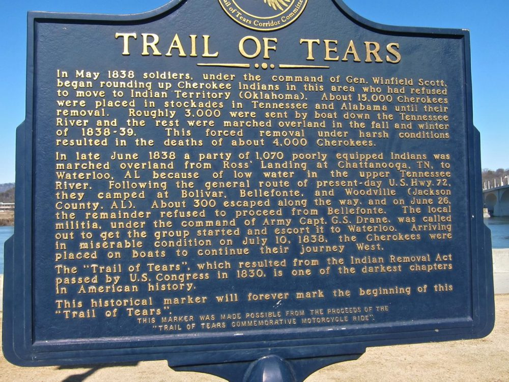 trail-of-tears historical plaque